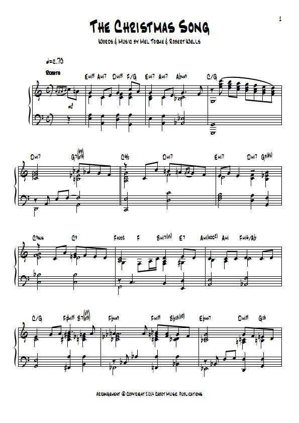 The Christmas Song (Chestnuts Roasting On An Open Fire) Piano Sheet ...