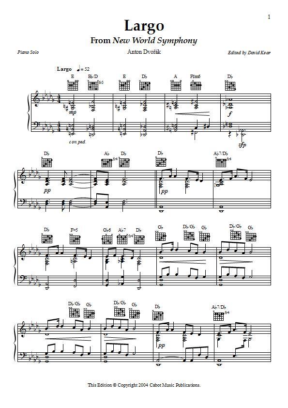 Largo From New World Symphony Piano Sheet Music - Dvorak ...