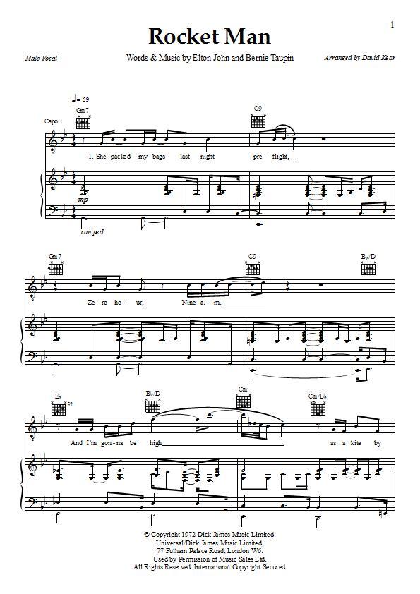Rocket Man Sheet Music - Elton John - Download & Print