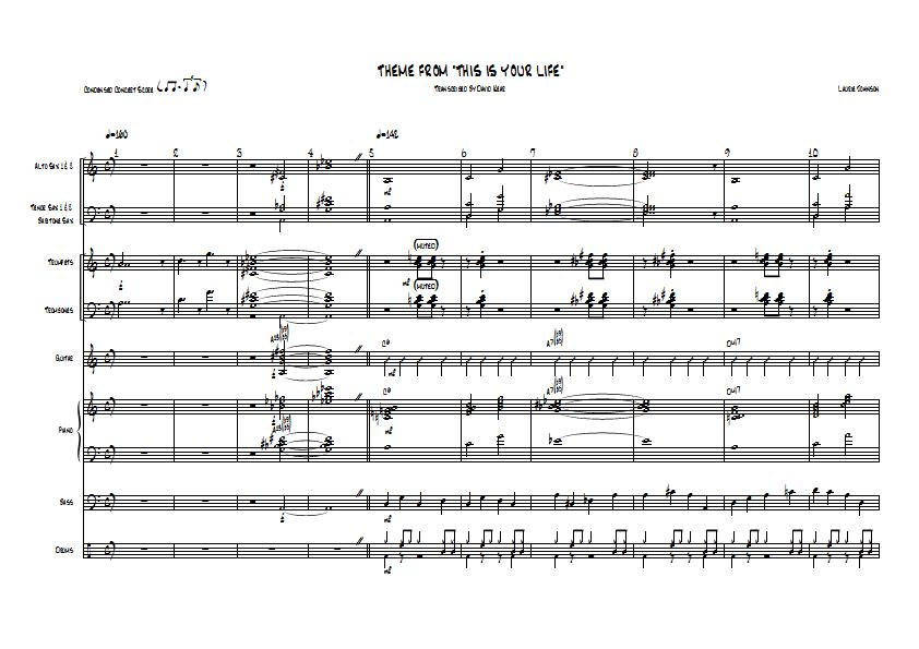 All Music Chords online sheet music download : This Is Your Life Theme - Laurie Johnson - Big Band Arrangement ...